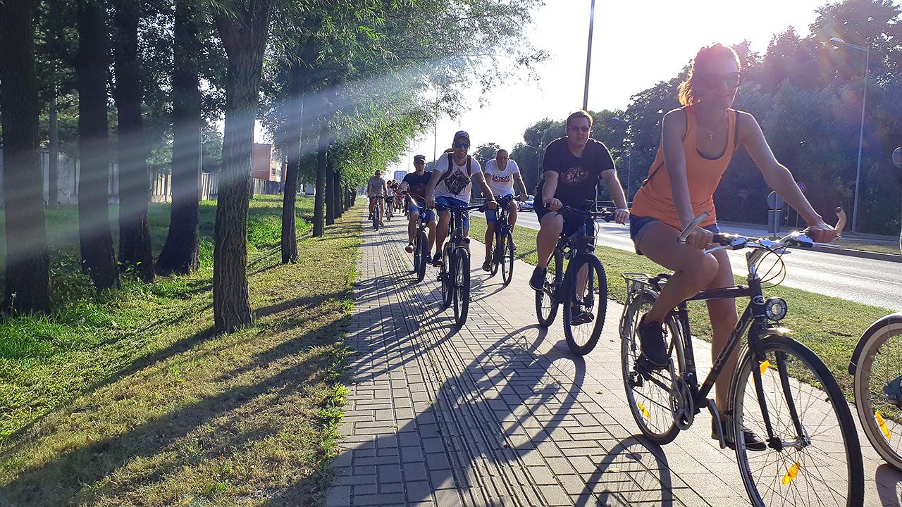 colleagues in a biking trip